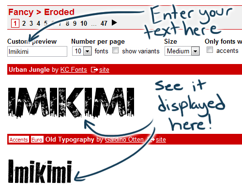 Build up your font library with dafont imikimiart clicking on the name of the font or the text preview will take you to a new page showing all the different letters or glyphs for that font this way ccuart Gallery