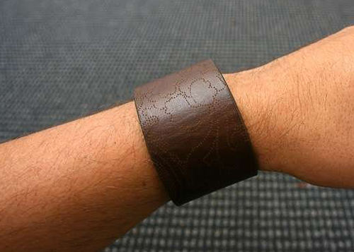 Leather bracelet from old belt.