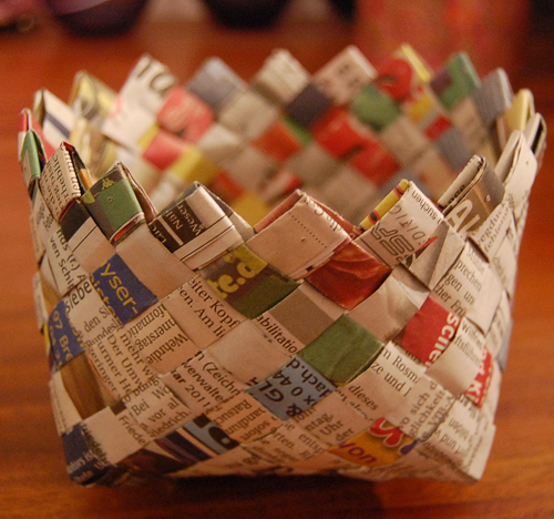 Newspaper basket craft