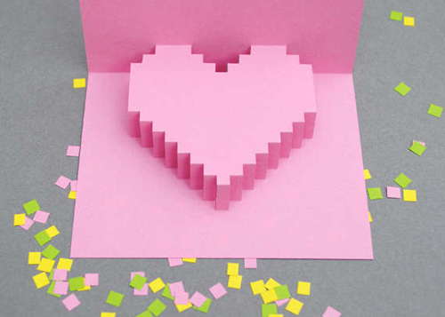 Pixel pop-up card.