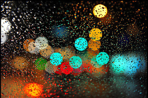 Raindrops and out of focus lights.