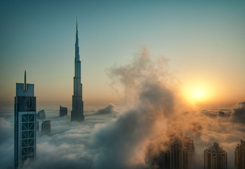 Fog covering skyscrapers.