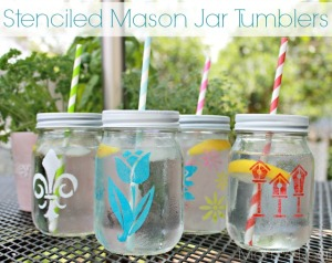 Stenciled Craft Jars